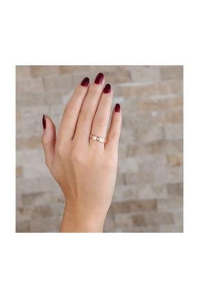Tesbihane Zirkon Taşlı Geometrik Tasarım Rose Renk 925 Ayar Gümüş Bayan Yüzük 2