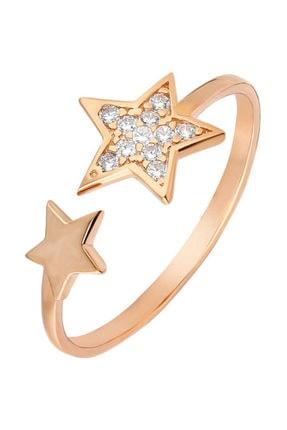 Tesbihane Zirkon Taşlı Yıldız Tasarım Rose Renk 925 Ayar Gümüş Bayan Yüzük 0