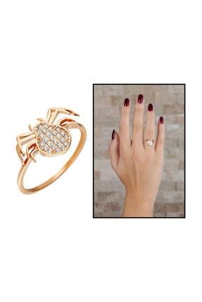 Tesbihane Zirkon Taşlı Spider Tasarım Rose Renk 925 Ayar Gümüş Bayan Yüzük 2