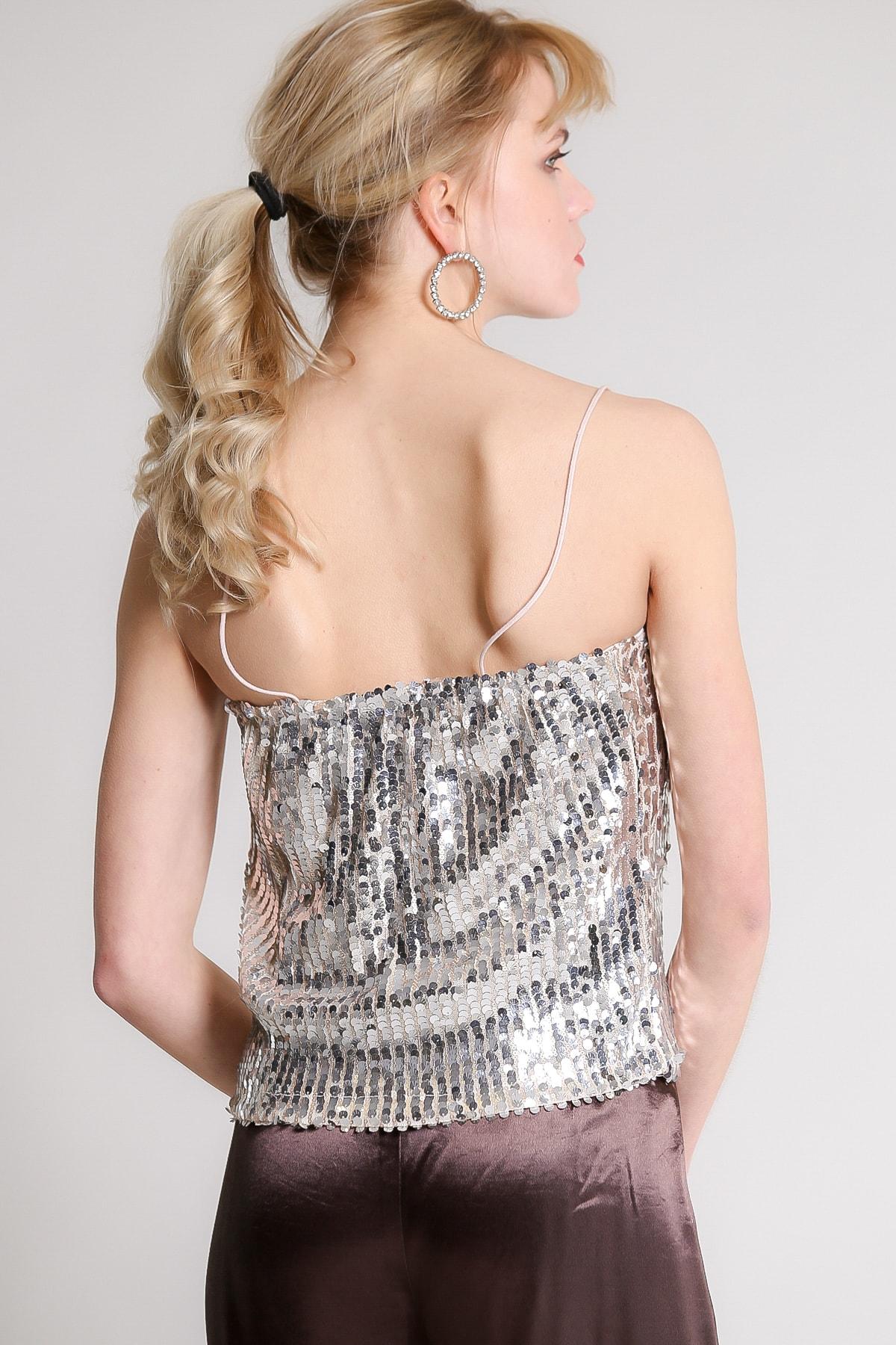 Chiccy Kadın Gümüş Retro Askılı Balık Pul Payetli Bluz M10010200BL96731 4