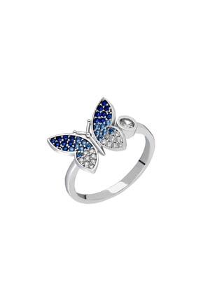 Tesbihane Mavi-Beyaz Zirkon Taşlı Kelebek Tasarım Üretildiği Malzeme : 925 Ayar Gümüş Kadın Yüzük 102001623 1