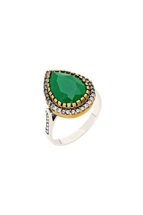 Tesbihane 925 Ayar Gümüş Zirkon Ve Yeşil Ruby Taşlı Damla Tasarım Otantik Kadın Yüzük 102000415 1