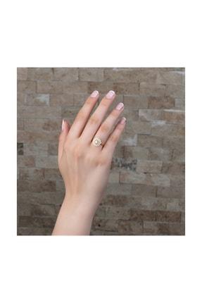 Tesbihane Üç Sıra Zirkon Taşlı Halka Tasarım Gold Renk 925 Ayar Gümüş Kadın Yüzük 102001604 1