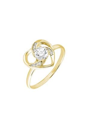 Tesbihane Zirkon Tektaşlı Kalp Tasarım Gold Renk 925 Ayar Gümüş  Yüzük 102001754 3