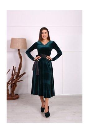 giyimmasalı Kadife Midi Tasarım Büyük Beden Elbise - Zümrüt Yeşil 3