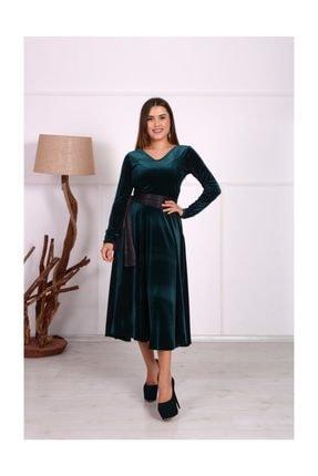 giyimmasalı Kadife Midi Tasarım Büyük Beden Elbise - Zümrüt Yeşil 2