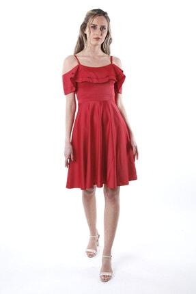 Kadın Kırmızı Saten Abiye Elbise 1ABTB4151OY