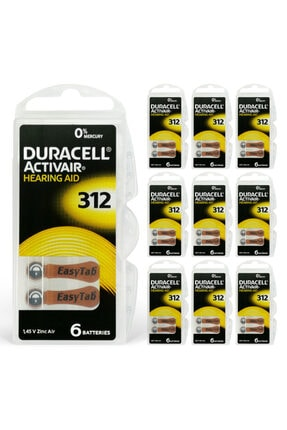 Duracell Activair 312 Numara Işitme Cihazı Pili 6x10 (60 Adet) 0