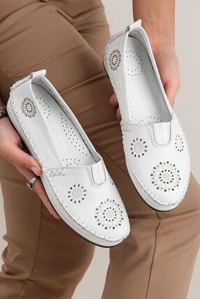 Kadın Beyaz Hakiki Deri Lazer Detaylı Bağcıksız Günlük Ayakkabı • A202yıvk0038 A202YIVK0038