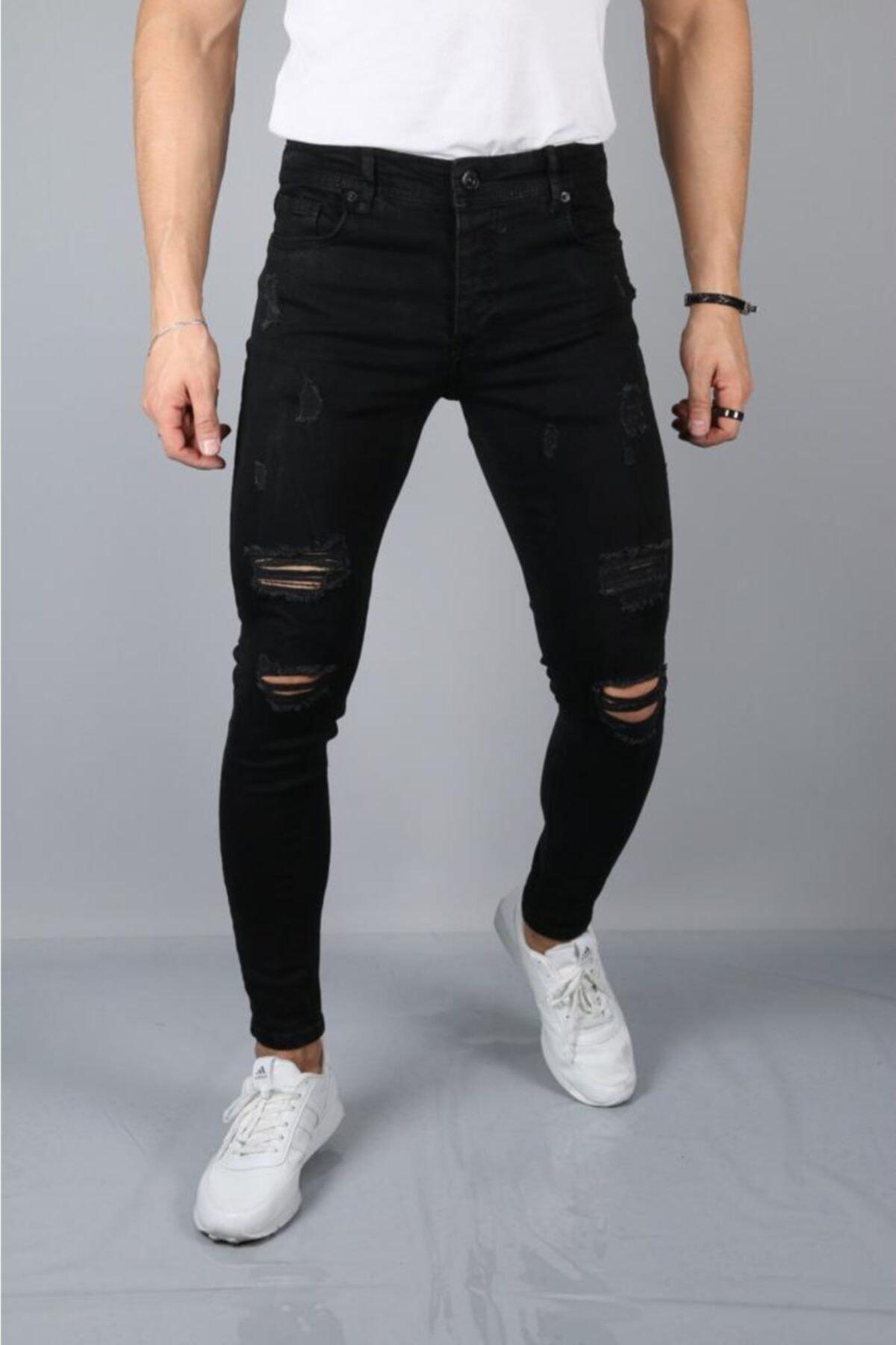 Erkek Siyah Yırtık Kot Pantolon