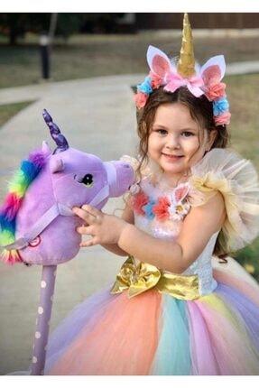 Unicorn Kız Çocuk Unicorn Tarlatanlı Tütü Elbise Kostüm Taç Hediyeli 1