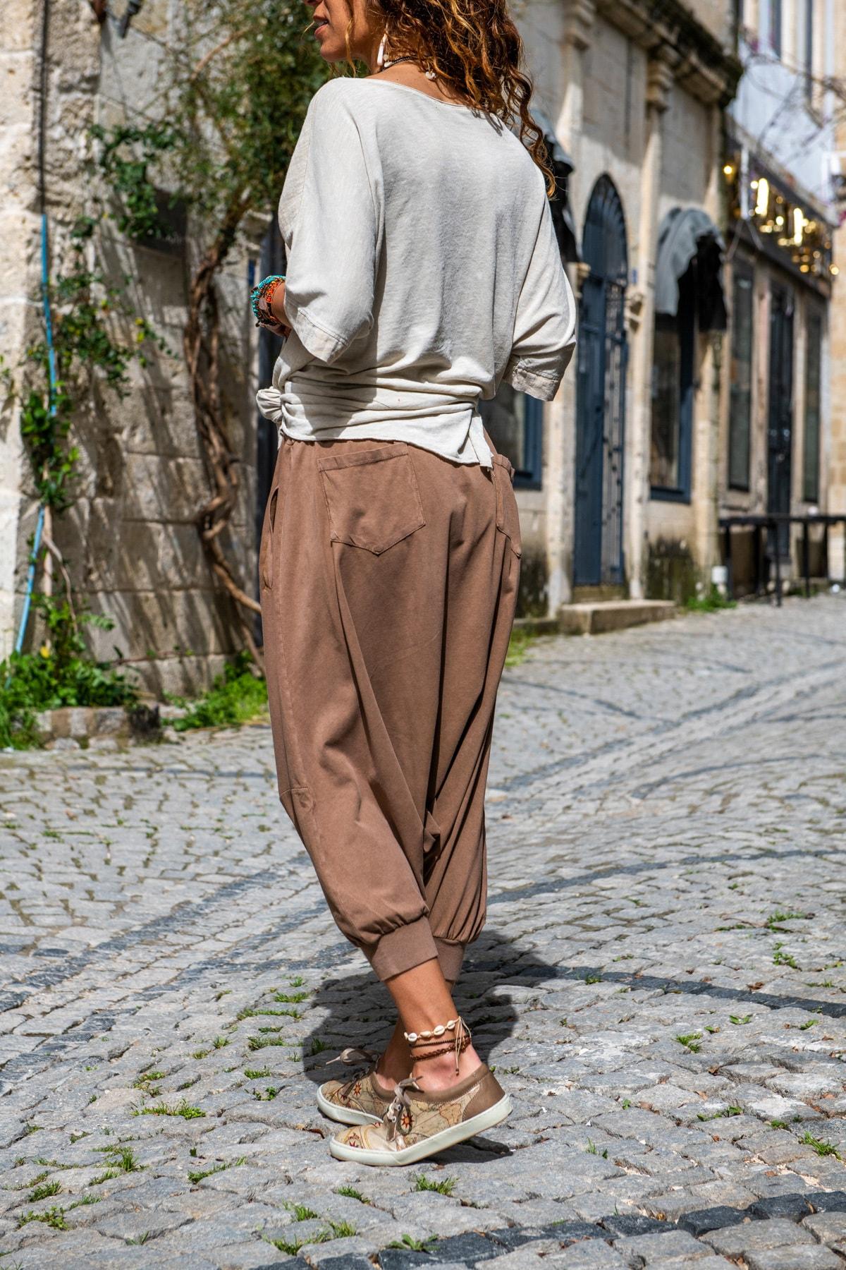 Güneşkızı Kadın Bakır Yüksek Bel Cepli Beli Lastikli Şalvar Pantolon GK-RSD2004 2