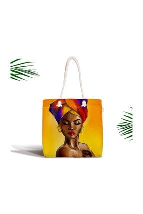 Afrika Kadın Tasarımlı Dijital Baskılı Özel Tasarım Fermuarlı Kumaş Çanta Canta-Afrika-Kadin CANTA-afrika-kadin
