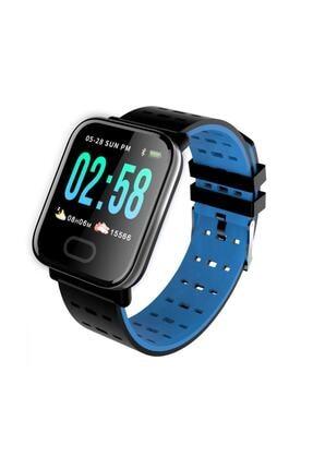 King A6 Smart Watch Akıllı Saat Suya Dayanıklı Nabız Ölçer Mavi 0