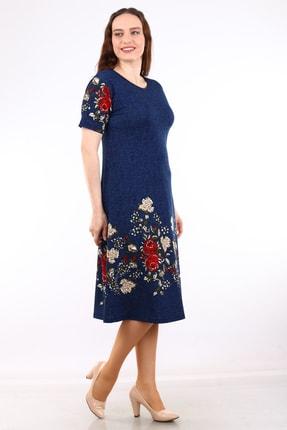 Alesia Kadın Lacivert Çiçek Desenli Kısa Kol Krep Elbise MHMT2020-410 3