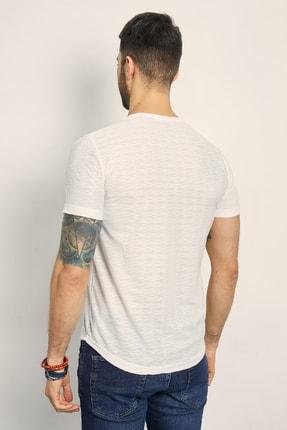 Sateen Men Erkek Beyaz Bisiklet Yaka Basic T-Shirt 144-7239 2
