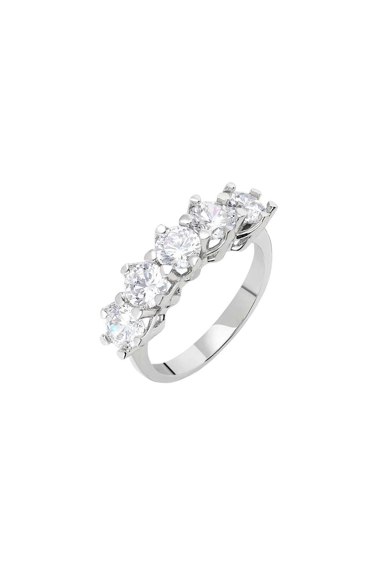 Tesbihane Starlight Diamond Pırlanta Montür 925 Ayar Gümüş Bayan Beştaş Yüzük 102001816 3