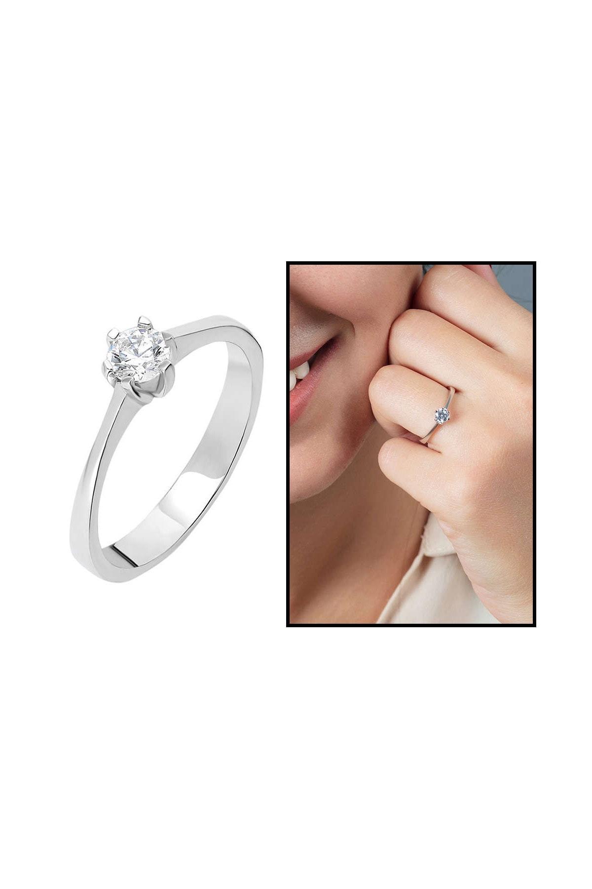 Tesbihane Starlight Diamond Pırlanta Montür Oval Tasarım 925 Ayar Gümüş Bayan Tektaş Yüzük 102001791 1