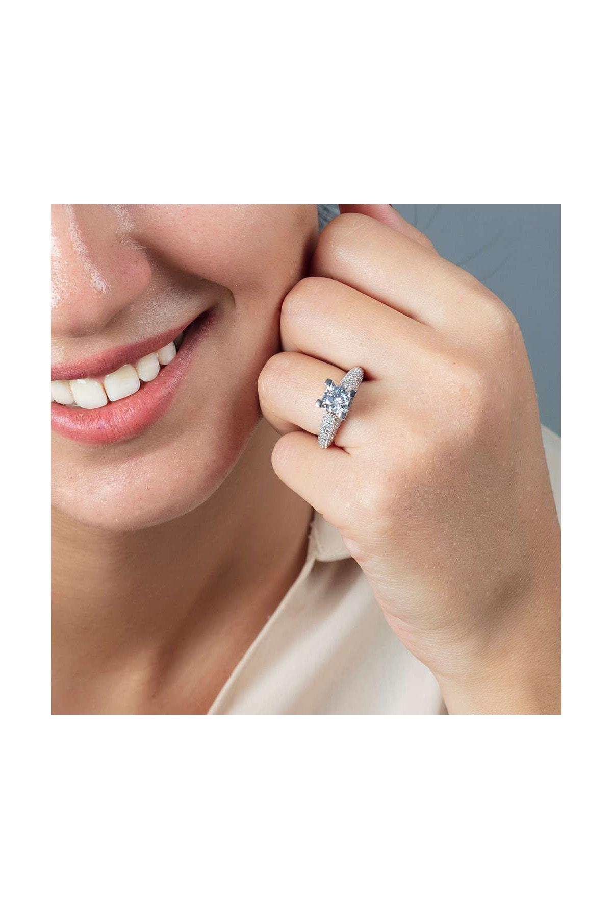 Tesbihane Starlight Diamond Pırlanta Montür Avangarde 925 Ayar Gümüş Bayan Tektaş Yüzük 102001803 2