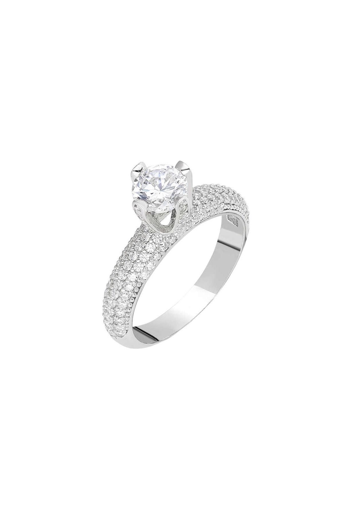 Tesbihane Starlight Diamond Pırlanta Montür Aşk Temalı 925 Ayar Gümüş Bayan Tektaş Yüzük 102001800 3