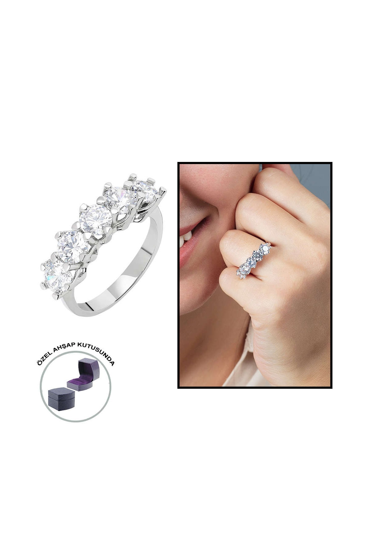 Tesbihane Starlight Diamond Pırlanta Montür 925 Ayar Gümüş Bayan Beştaş Yüzük 102001816 0