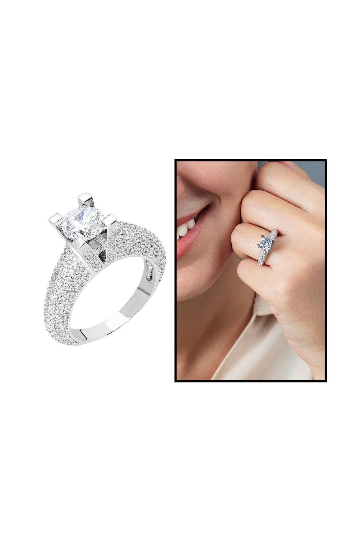 Tesbihane Starlight Diamond Pırlanta Montür Avangarde 925 Ayar Gümüş Bayan Tektaş Yüzük 102001803 1