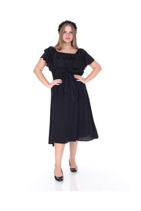 Kadın Büyük Beden Roba Fırfır Katlı Elbise Siyah resmi
