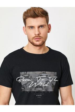 Koton Erkek Siyah Baskili T-Shirt 0YAM11908LK 2