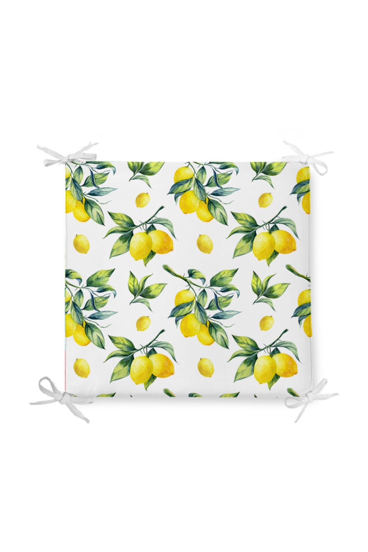 Beyaz Zeminde Limon Desenli 3d Dekoratif Fermuarlı Sandalye Minderi