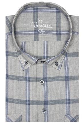 تصویر از Erkek Gri Kısa Kol Büyük Beden Kareli Yaka Düğmeli Çift Cepli Gömlek