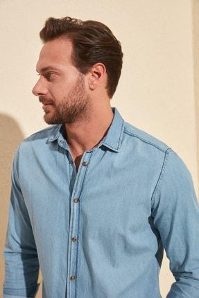 TRENDYOL MAN Mavi Erkek İnce Basic Denim Gömlek TMNSS20GO0107 3