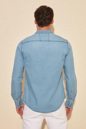 TRENDYOL MAN Mavi Erkek İnce Basic Denim Gömlek TMNSS20GO0107 4