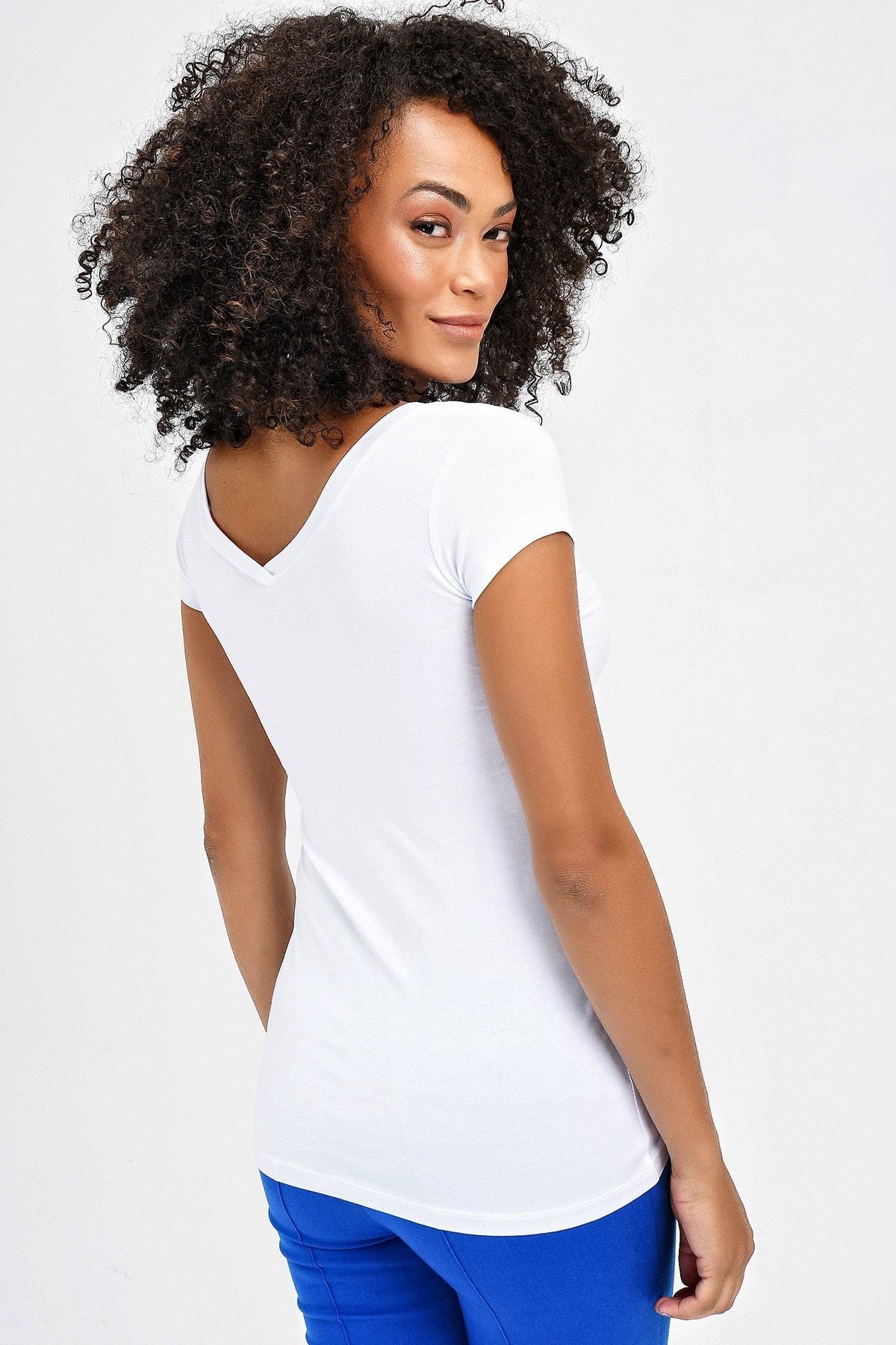 Jument Kadın Beyaz Ön-Arka V Yaka Kısa T-Shirt 5612 4