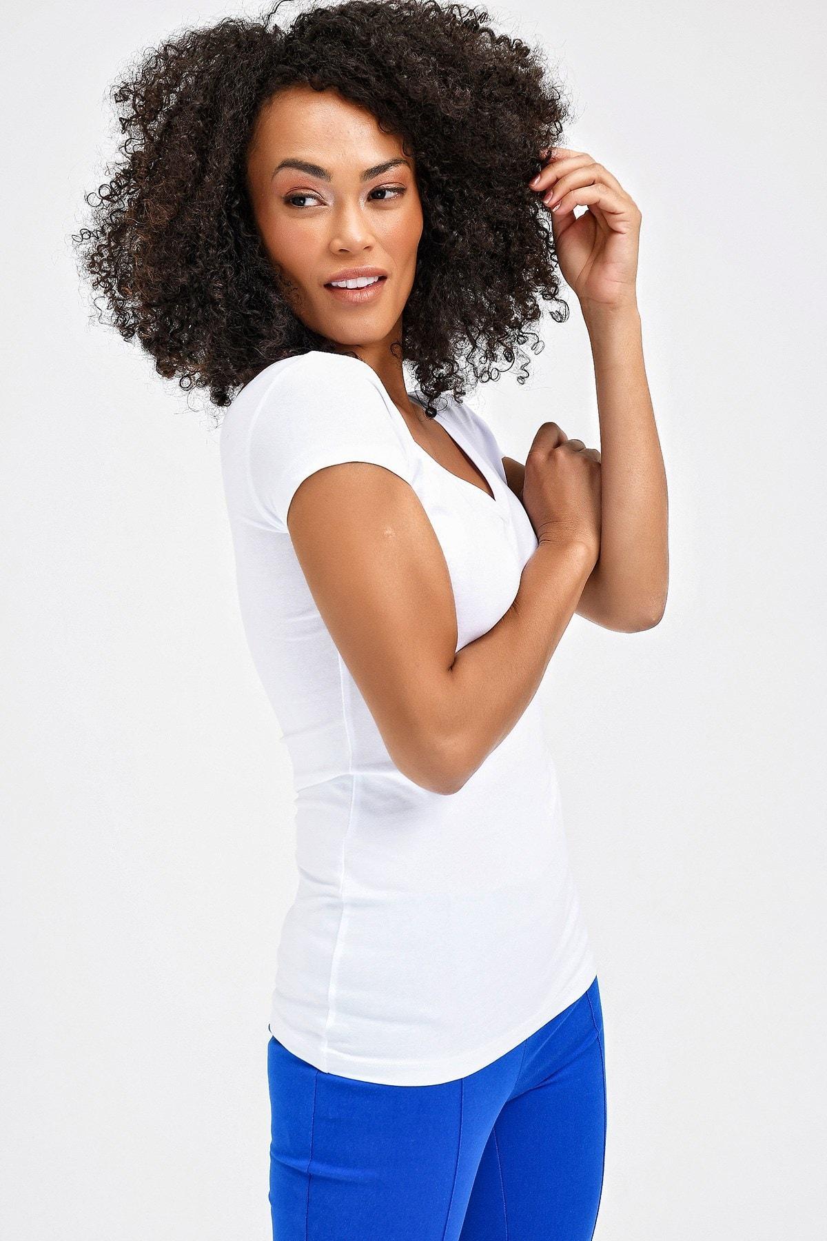 Jument Kadın Beyaz Ön-Arka V Yaka Kısa T-Shirt 5612 2