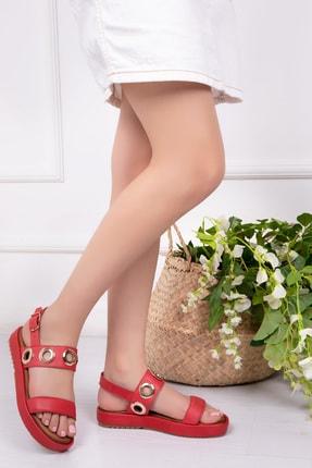 Deripabuc Modd Hakiki Deri Kırmızı Kadın Deri Sandalet Dp53-9005 0