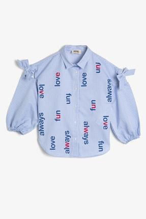 Koton Kız Çocuk Mavi Yazili Baskili Gömlek 0YKG67830AW 0