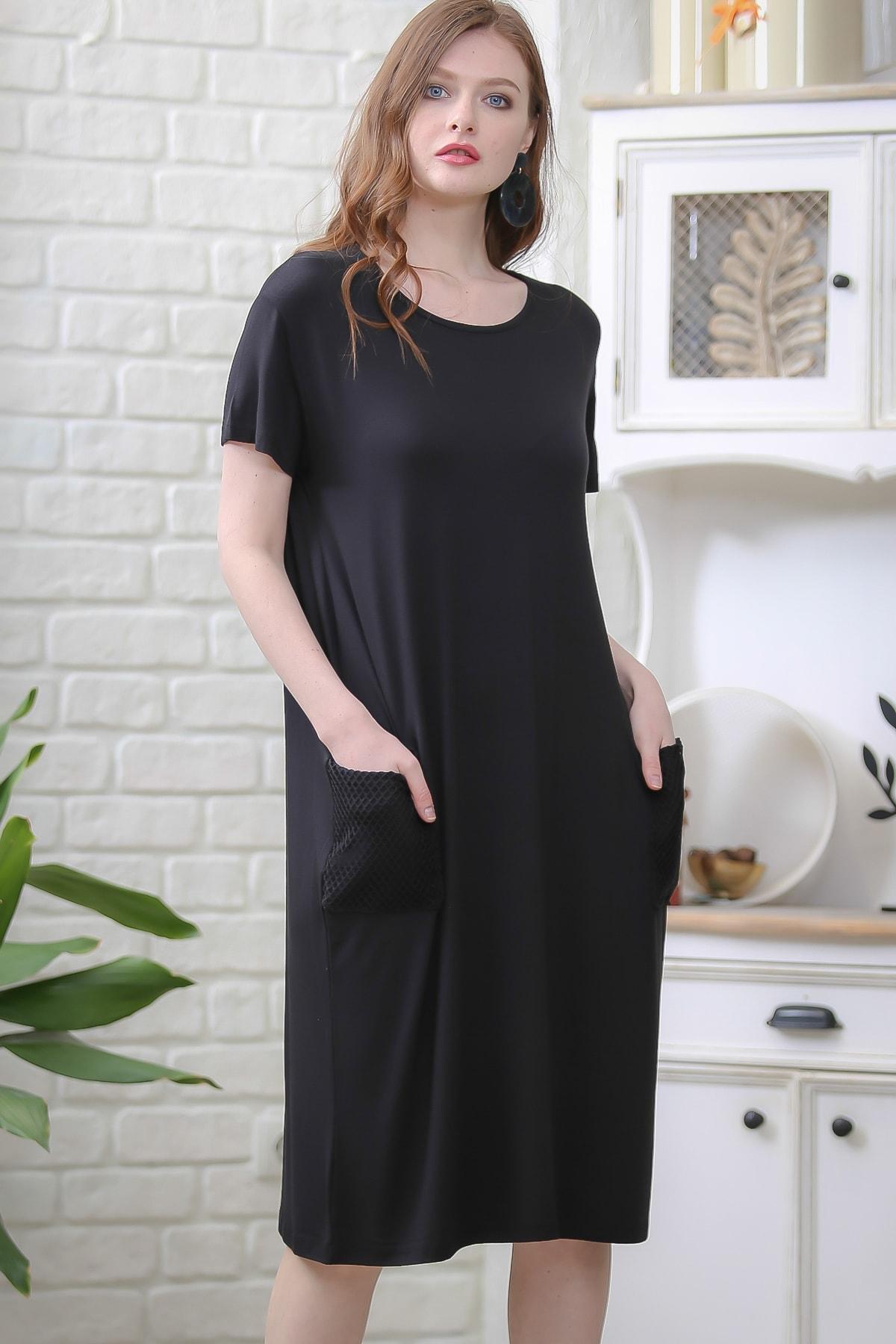 Chiccy Kadın Siyah Retro File Cep Detaylı Kısa Kollu Salaş Elbise M10160000EL97336 0