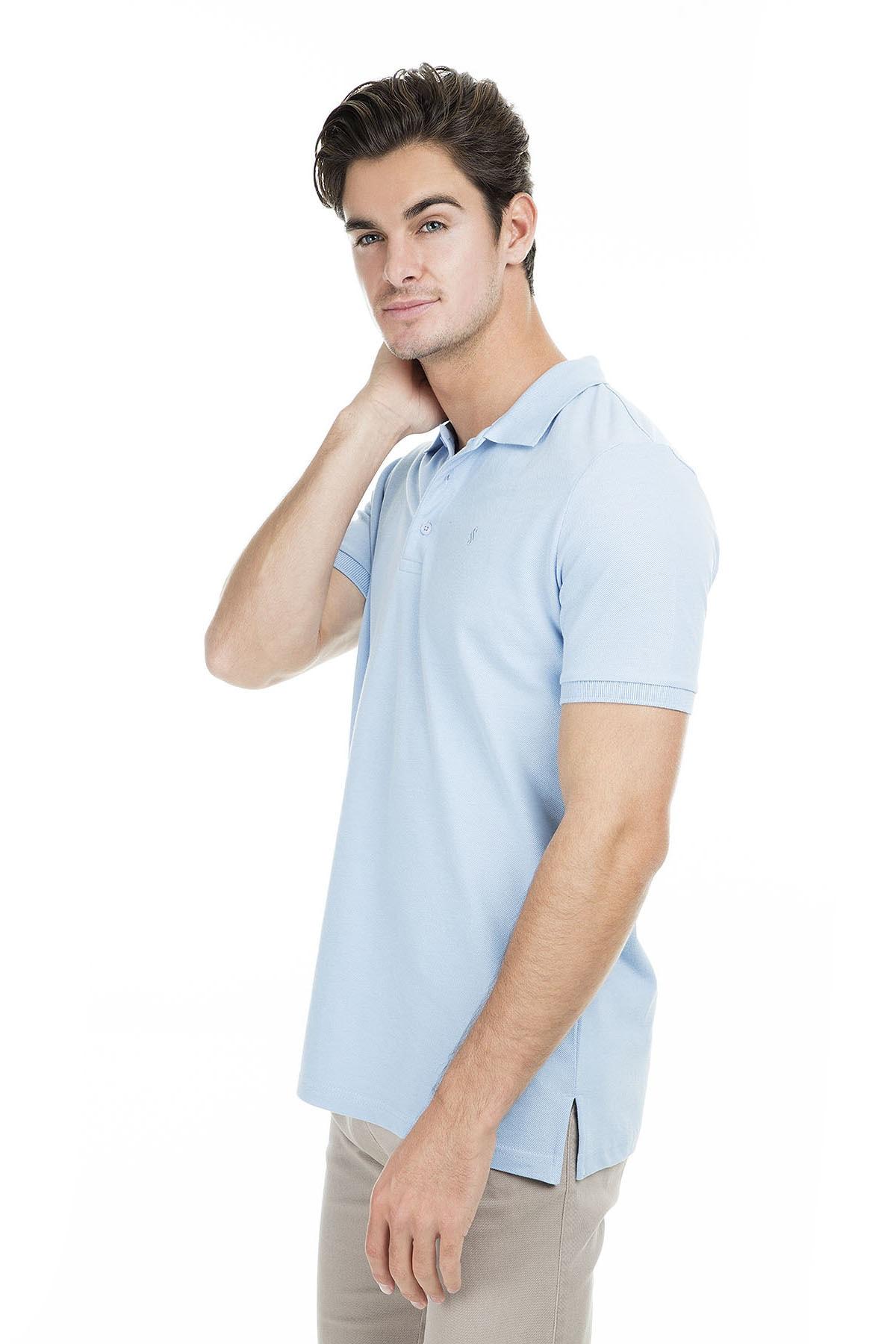 Sabri Özel Erkek Açık Mavi Polo Yaka T-Shirt - T446688 3