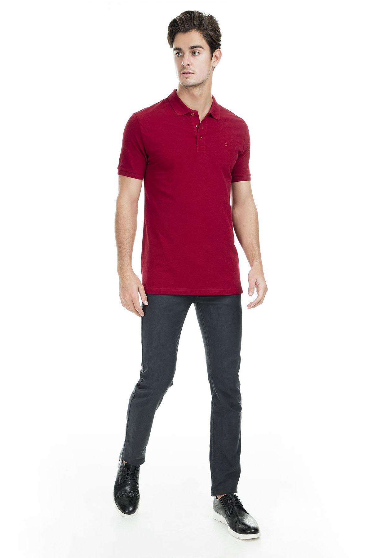 Sabri Özel Erkek Bordo Polo Yaka T-Shirt - T446688 4