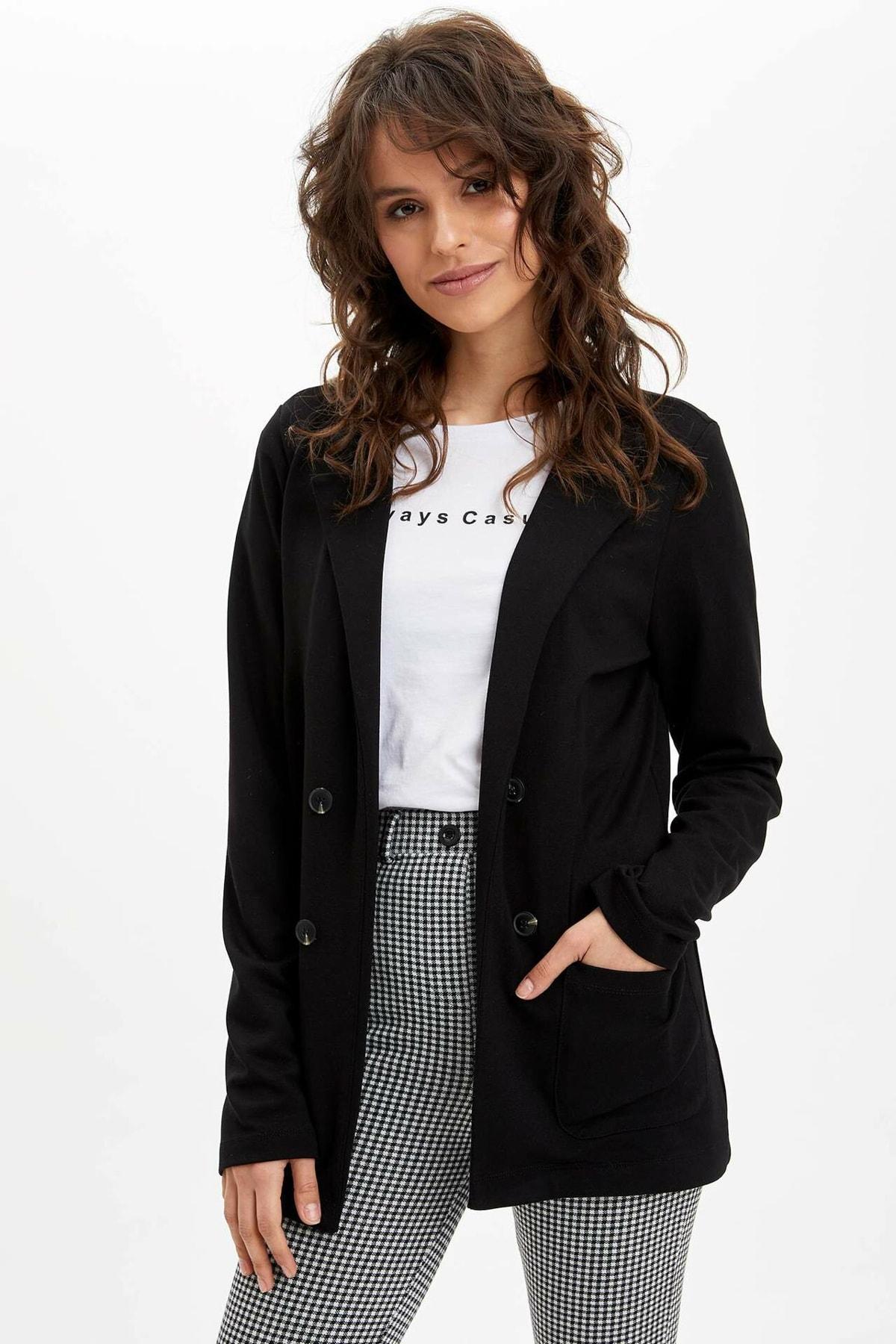 Kadın Siyah Regular Fit Cep Detaylı Blazer Ceket N2283AZ.20SP.BK27