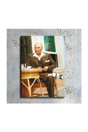 mağazacım Atatürk Sandalyesinde Otururken 50 Cm X 70 Cm Kanvas Tablo Tbl1219 0