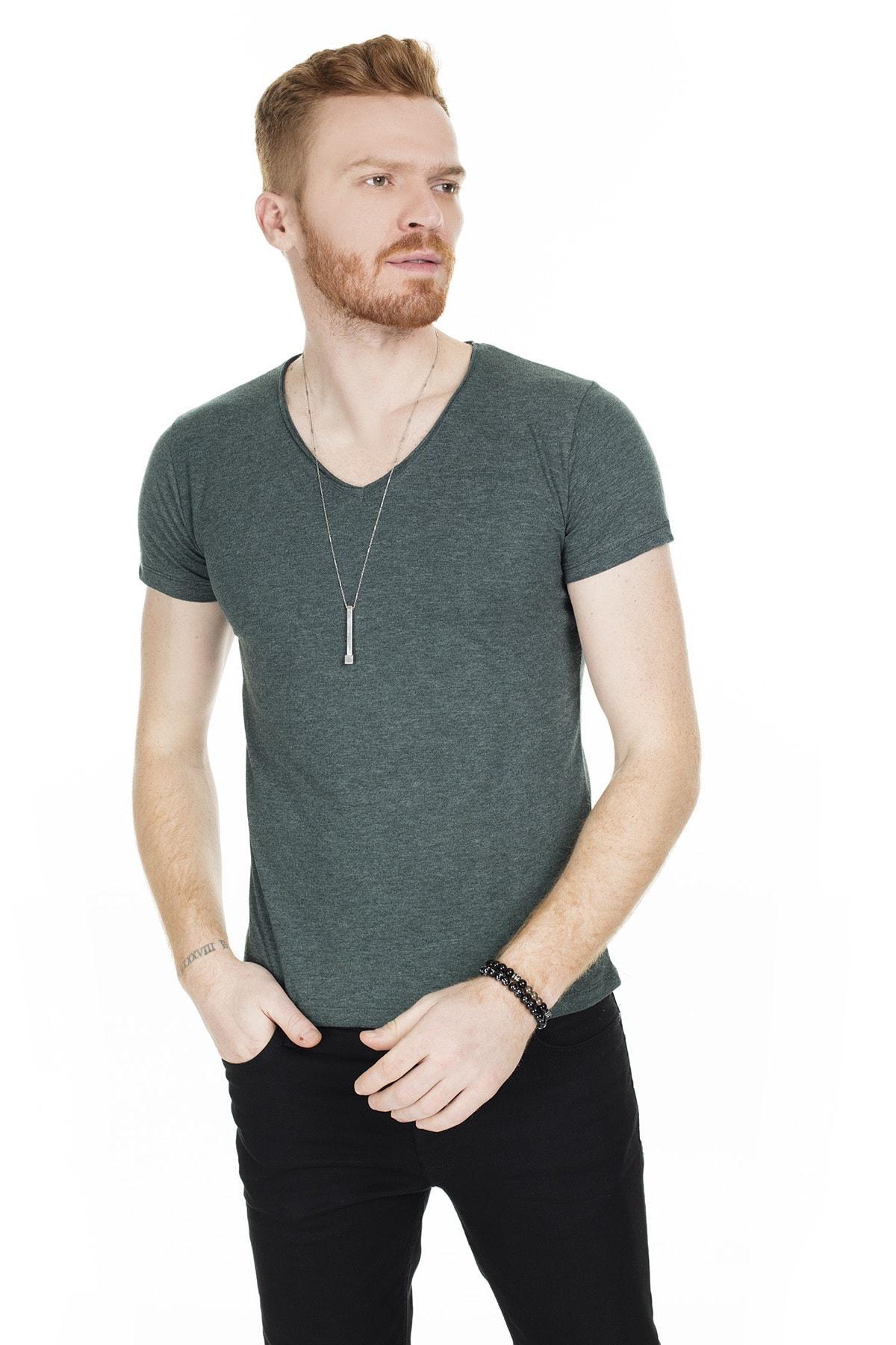 Buratti Erkek Yeşil V Yaka Pamuklu Basic T Shirt 54153 2