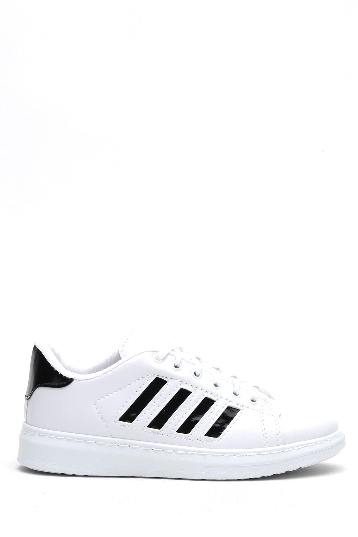 Ayakkabı Modası Beyaz-Siyah Kadın Sneaker 4000-19-101002 4