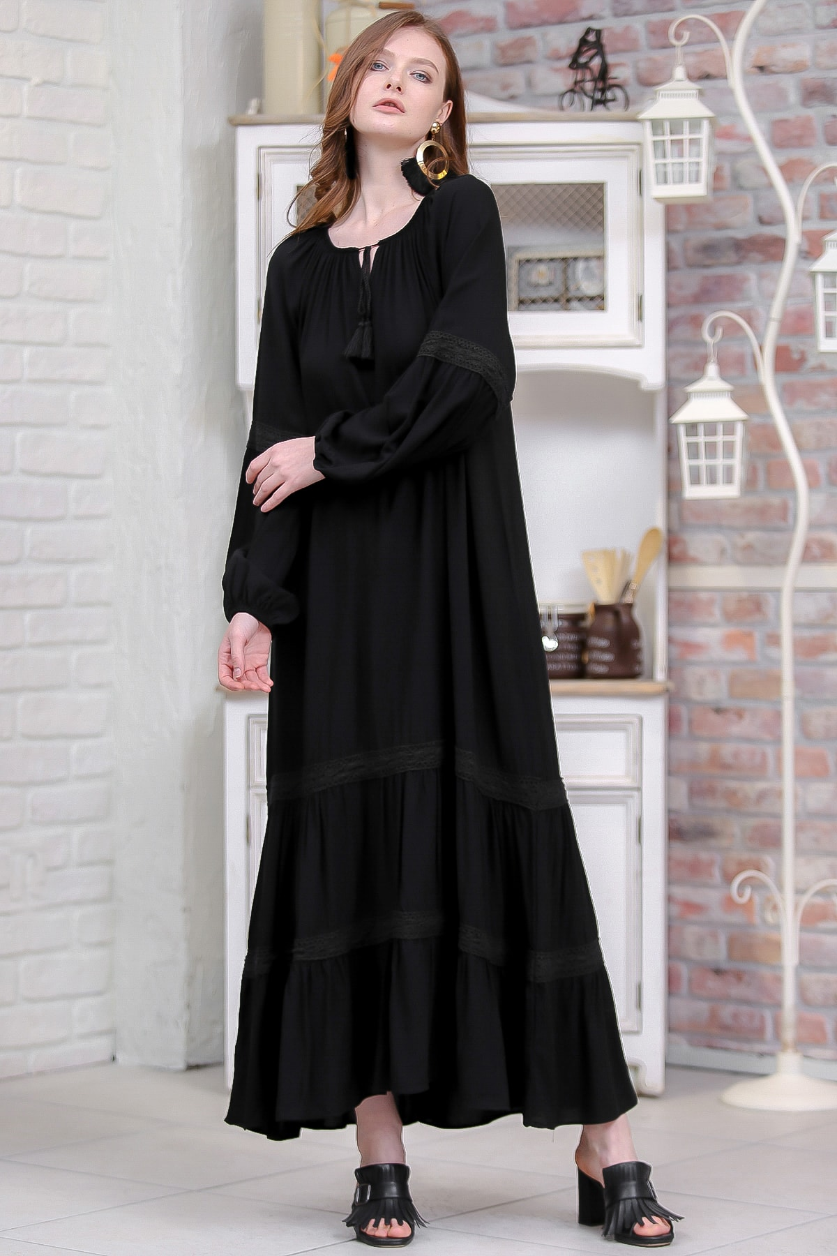 Kadın Siyah Bohem Kopanaki Detaylı Salaş Dokuma Elbise  M10160000EL97314