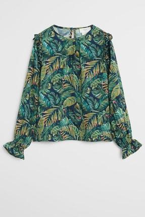 Mango Tropikal desenli bluz 0