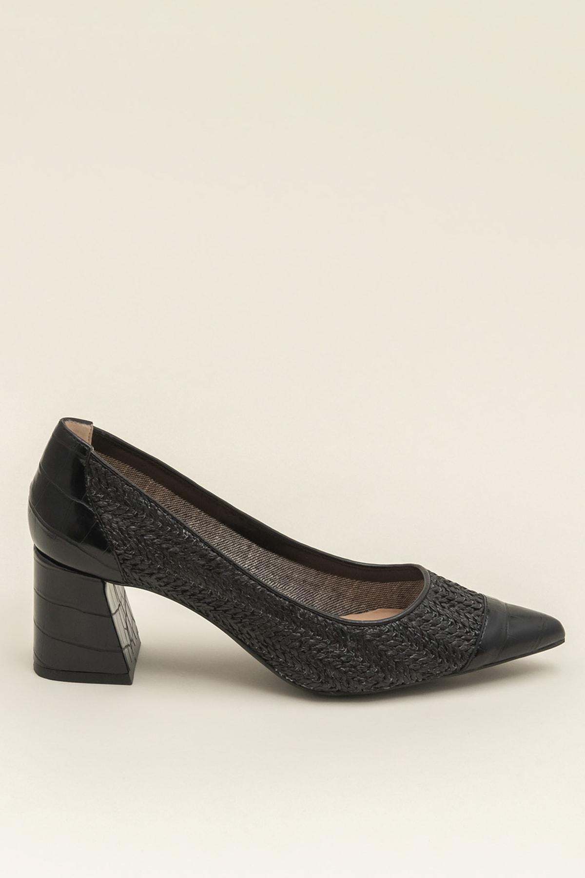 Elle MARGERY-1 Hakiki Deri Siyah Kadın Ayakkabı