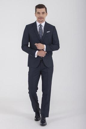 Desenli Slim Fit Lacivert Takım Elbise 33181019A025 resmi