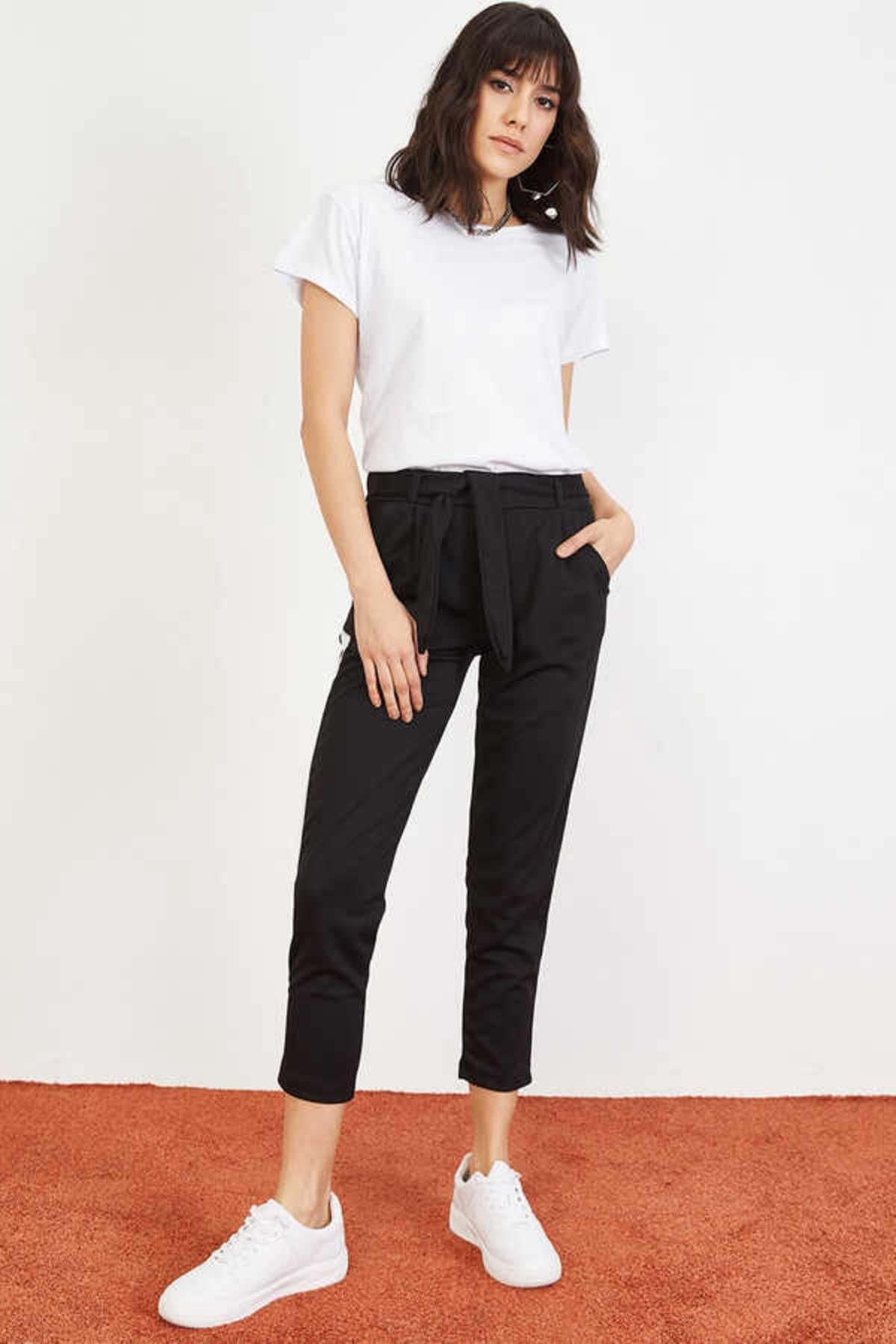 Bianco Lucci Kadın Siyah Yan Şerit Beli Lastikli Crep Pantolon 10021046 3