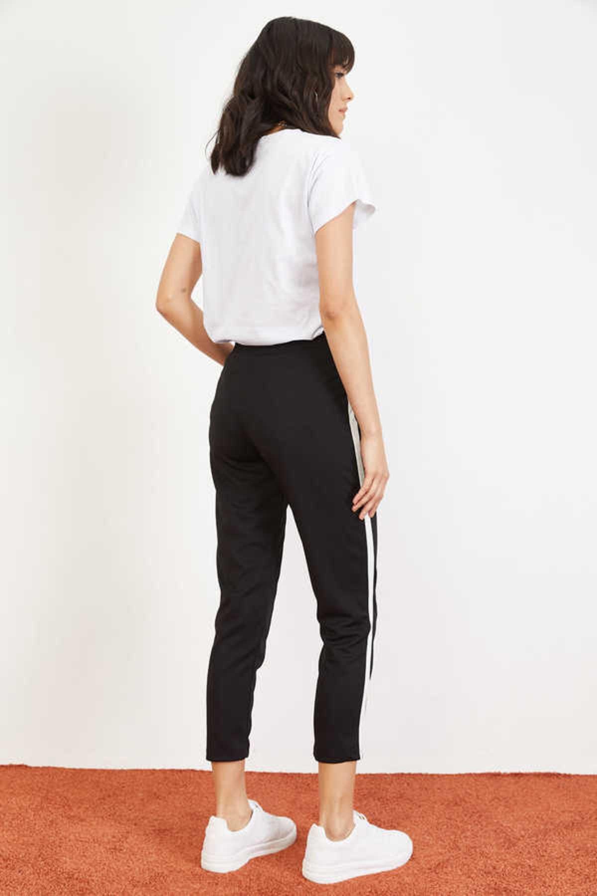 Bianco Lucci Kadın Siyah Yan Şerit Beli Lastikli Crep Pantolon 10021046 4