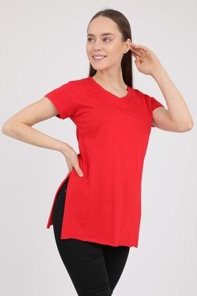 MD trend Kadın Kırmızı V Yaka Yırtmaçlı Kısa Kol Pamuklu T-Shirt Mdt3025 2